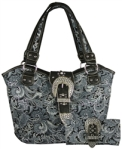 Montana West Rhinestone Paisley Print Handbag and Wallet Sets