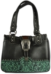 Wholesale Genuine Leather Montana West Satchel Handbag available in Black/Turquoise and Two Tone Brown